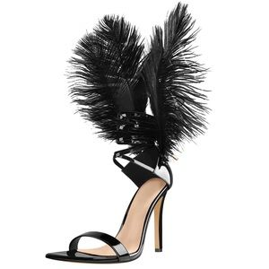 Feather Lace Up Pointed Open Toe High Heel